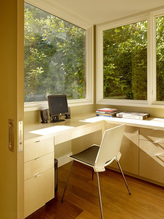 That would work. Home Office Corner Window Design ...