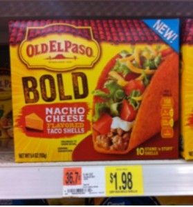 Old El Paso Nacho Cheese Taco Shells Only 1 23 At Walmart After Coupon Nacho Cheese Cheese Flavor Taco Stuffed Shells