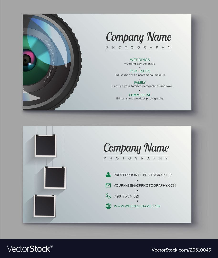 Photographer Business Card Template Design Vector Image On Vectorstock Photographer Business Card Template Photography Business Cards Template Free Business Card Templates
