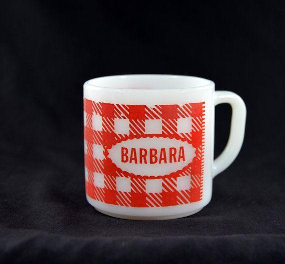 Westfield White Milk Glass Mug Red Checker Barbara | かわいい