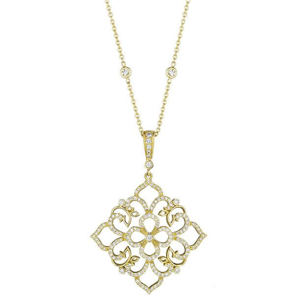 Penny Preville 18k Large Square Diamond-Lace Pendant Necklace ($3,094) ❤ liked on Polyvore featuring jewelry, necklaces, gold, diamond necklace pendant, round diamond pendant, bezel set diamond pendant, diamond necklace and pendant necklace