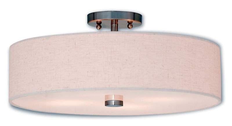 "Livex Lighting 52136 Meridian 4 Light 18"" Wide Single Semi-Flush Ceiling Fixture Brushed Nickel Indoor Lighting Ceiling Fixtures Semi-Flush"