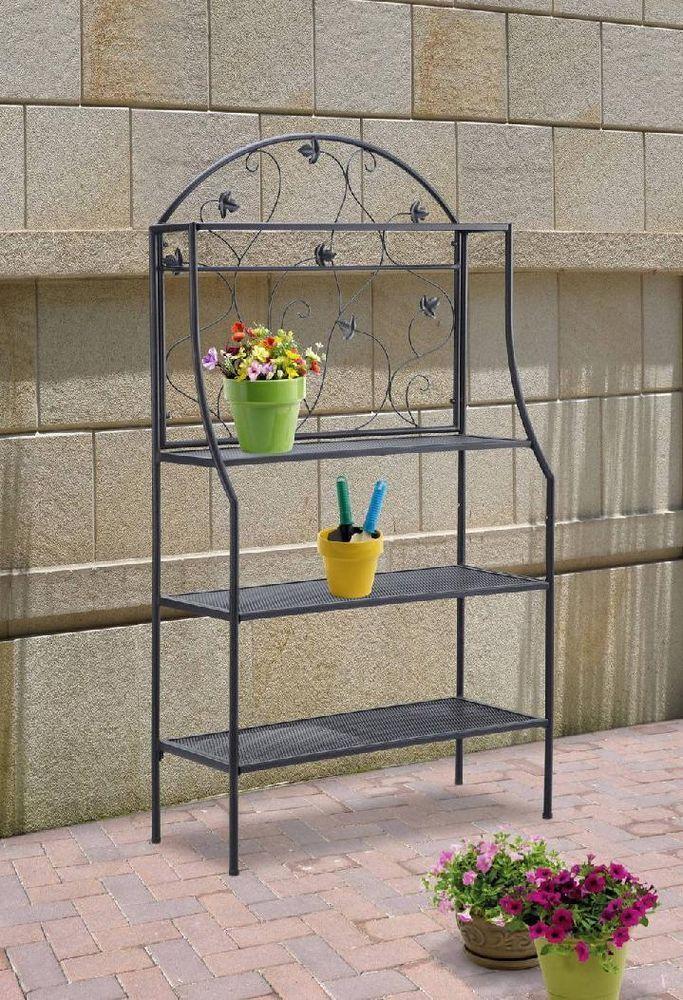 Outdoor Bakers Rack Plant Stand Storage Display 4 Shelf Garden