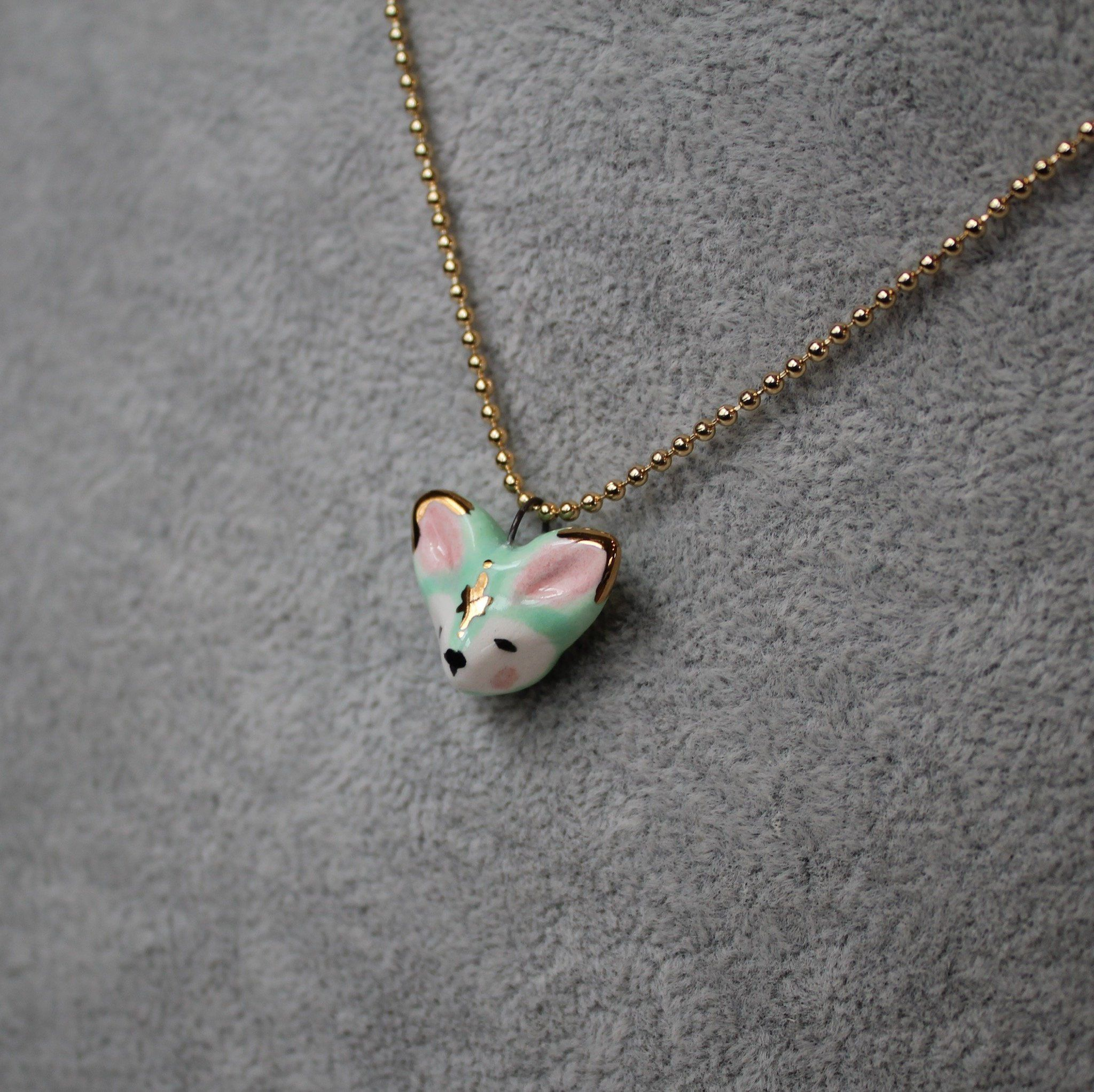 Woodland Fox wonderful fox necklace from polymer clay with leaves and goldstone