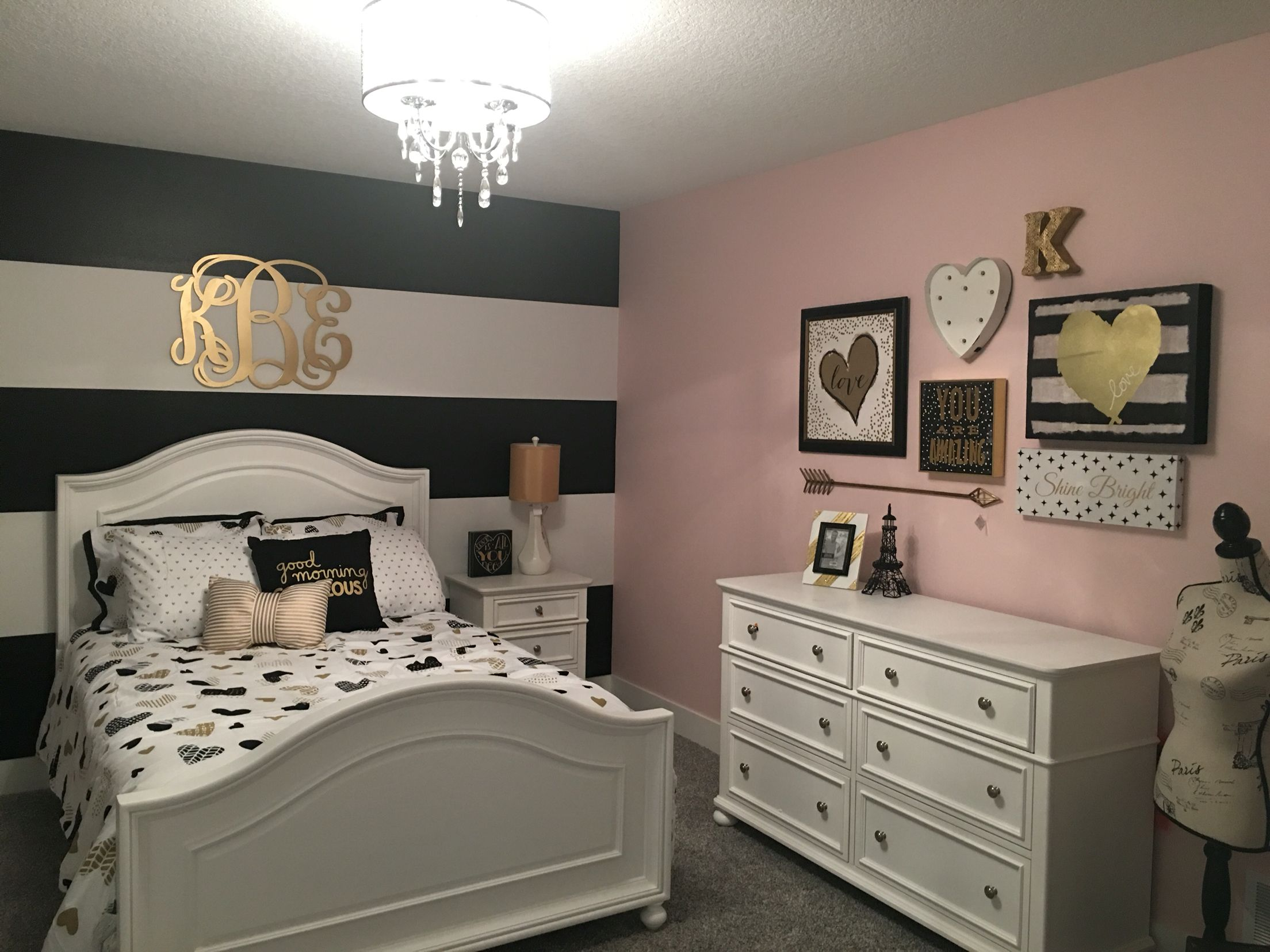 I love the way this black and gold room turned out the for Teen bedroom decor