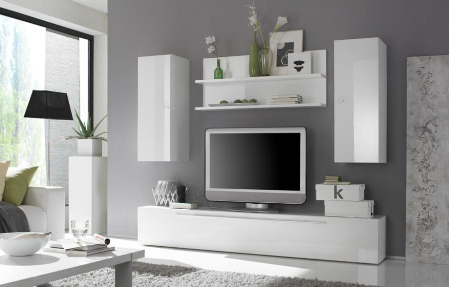 Living Room Grey · Primera, Modern TV Unit And Wall Storage With Shelf In White  Gloss /Composition 12