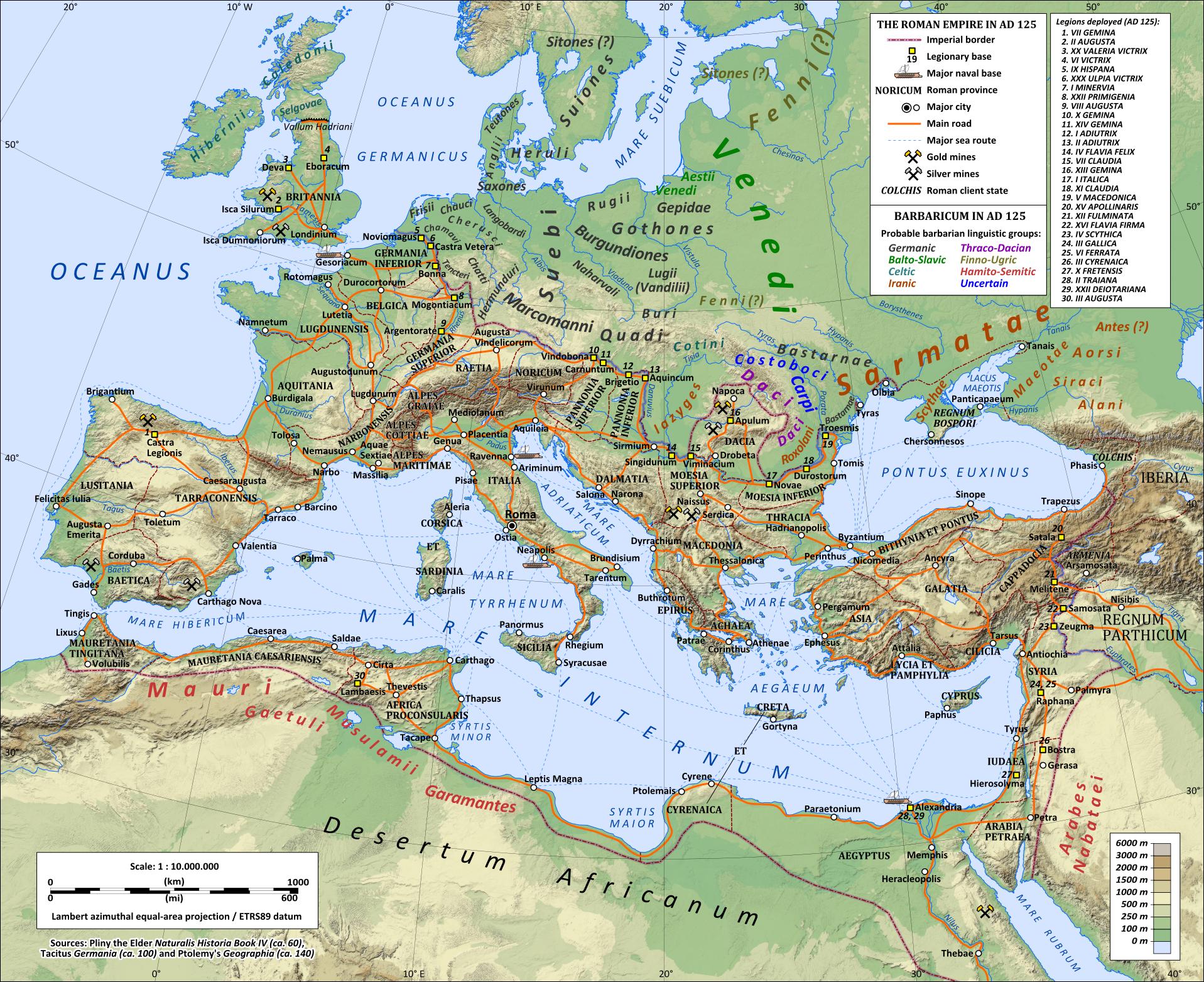 Roman Roads Sea Routes and Legion Deployments AD125  Rubicon