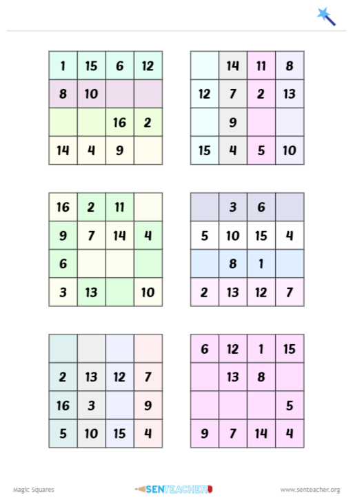 Generate Partially Completed Magic Squares Magic Squares Magic Squares Math Math Magic