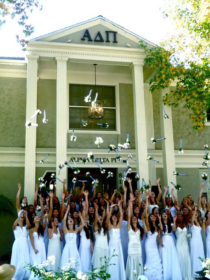 Fall 2011 Alpha Class at Beta Epsilon-USC. Love the idea of giving the Alphas nosegays to toss in the air/keep!