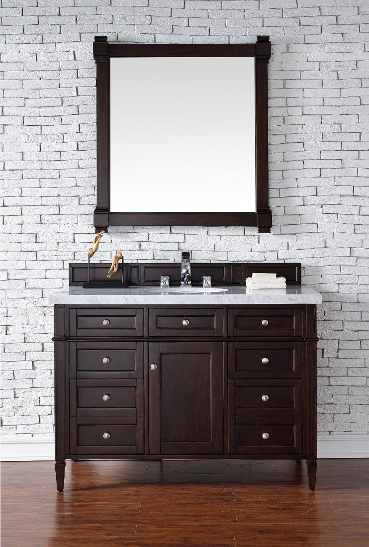 Brittany 48 Burnished Mahogany Single Vanity W Carrara White Stone Top James M Single Bathroom Vanity Transitional Bathroom Vanities James Martin Furniture