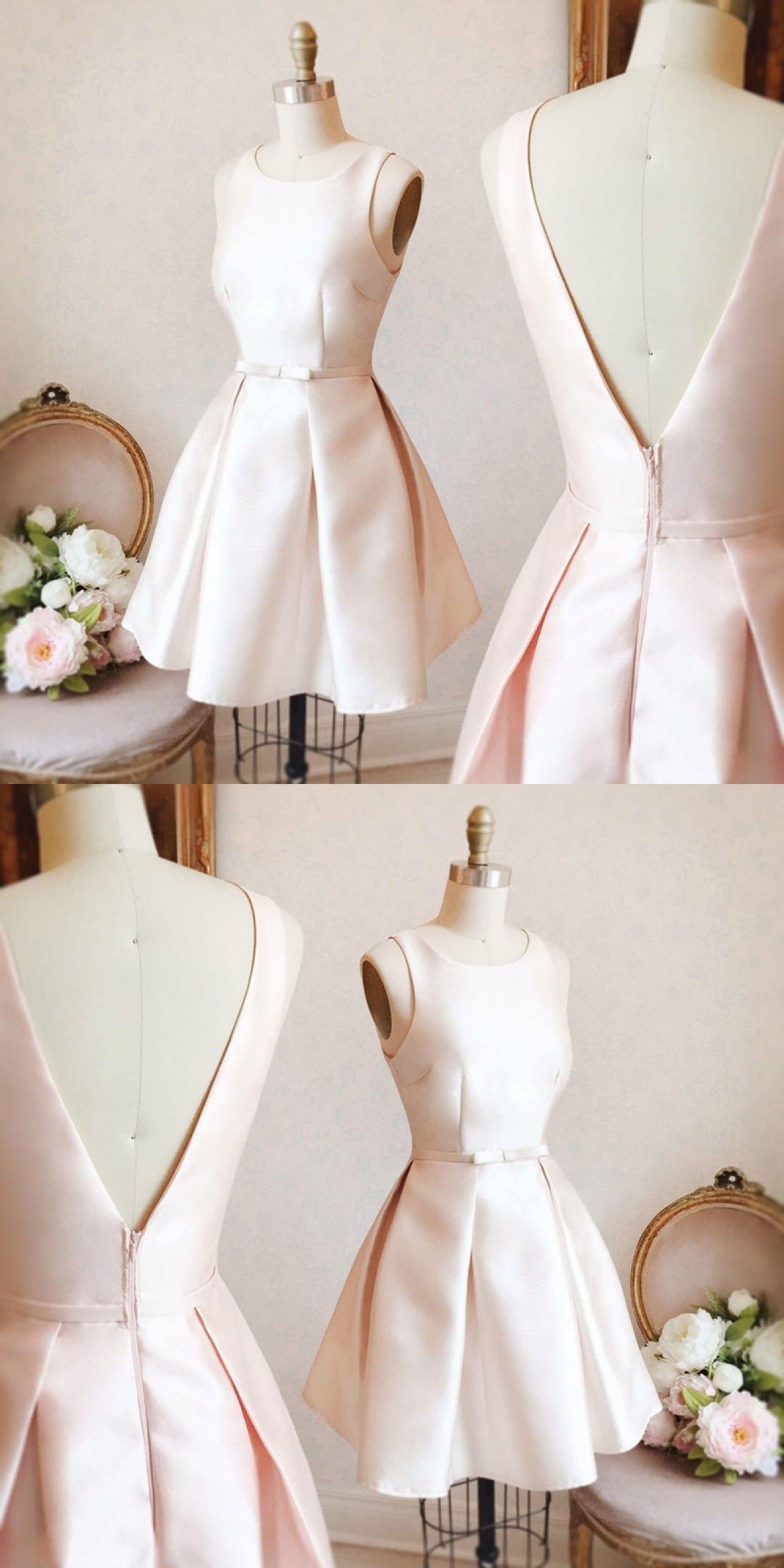 Cute homecoming dress aline scoop bowknot pearl pink short prom