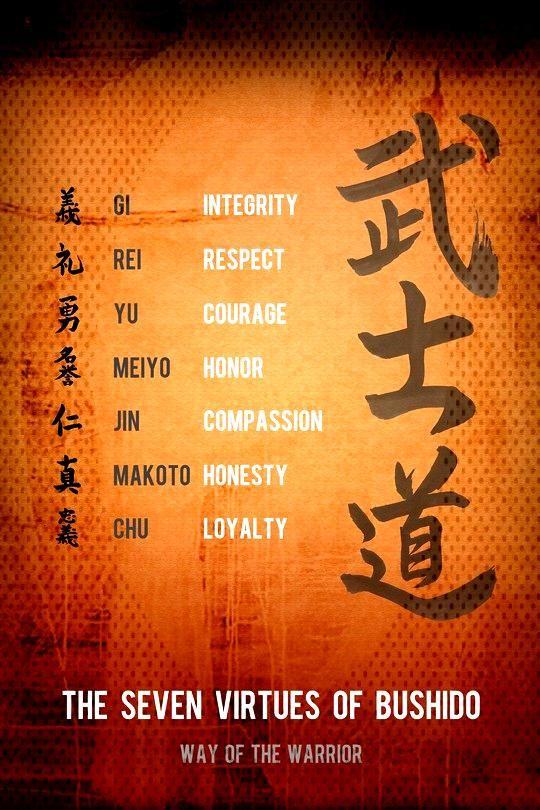 (cv32) Samurai Poster - the seven virtues