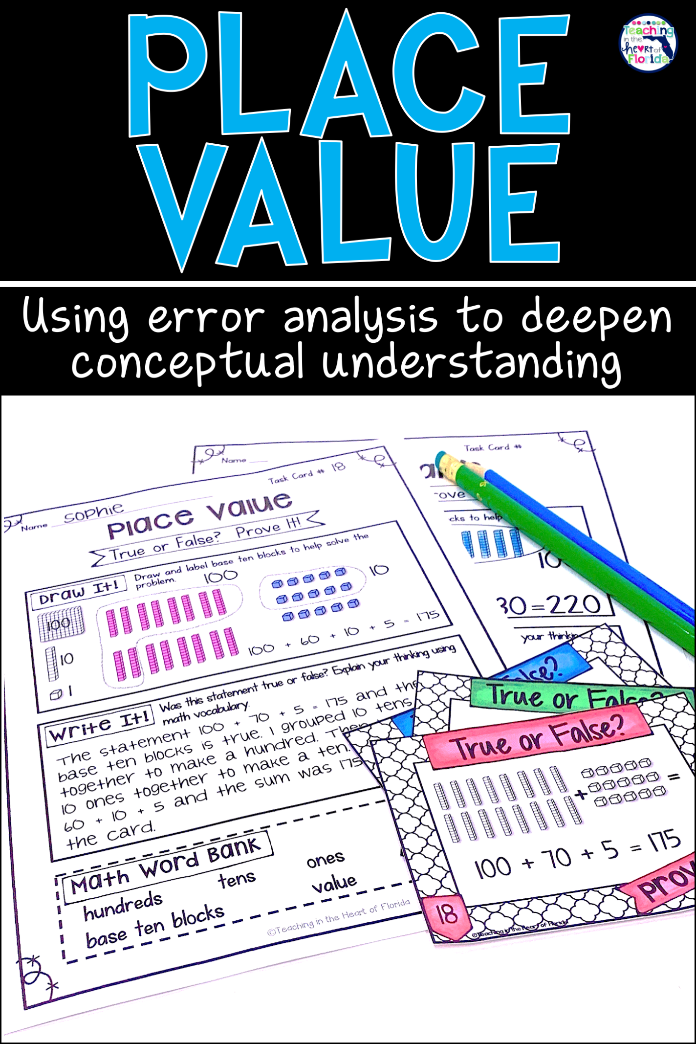 Place Value Task Cards Errorysis Math