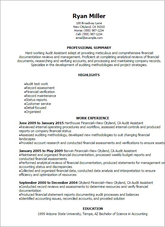 resume templates  audit assistant resume