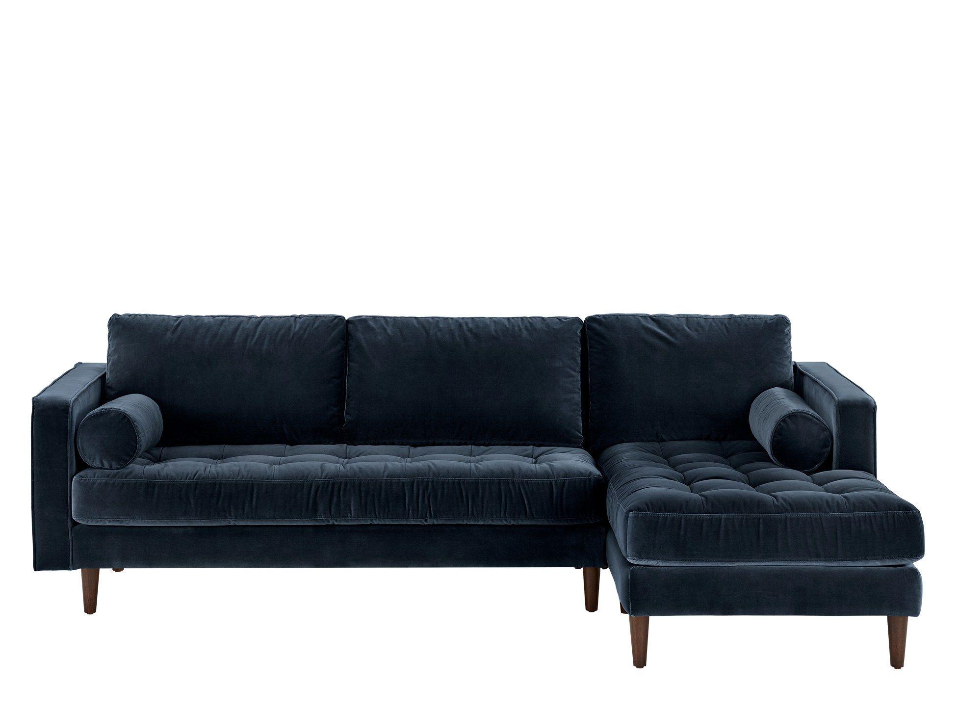 Scott 4 Seater Right Hand Facing Chaise End Corner Sofa Navy Cotton Velvet L Shaped Sofa Corner Sofa Navy Corner Sofa