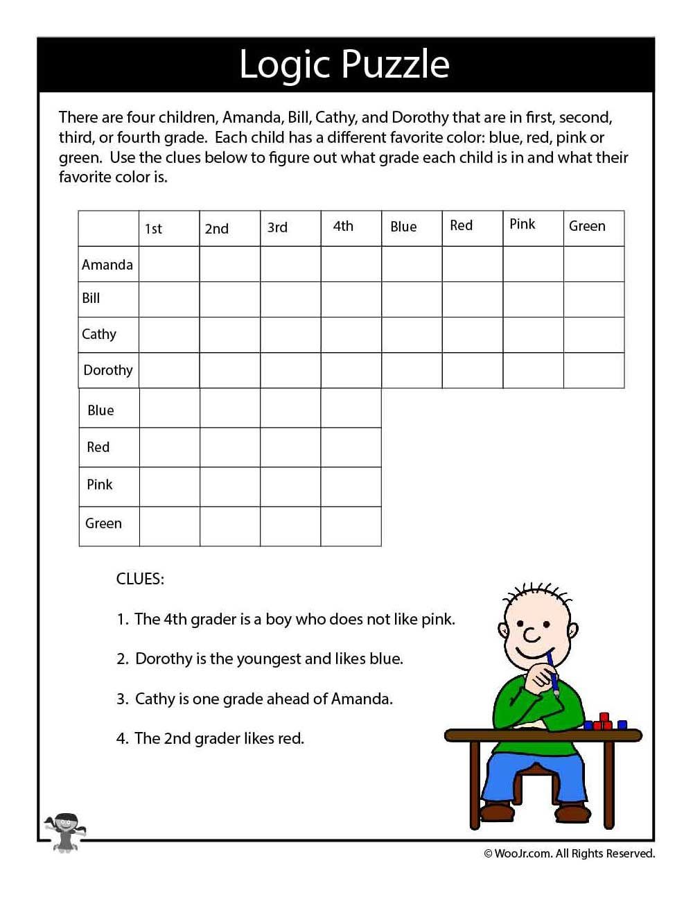 hard logic puzzle for kids free printables for children logic puzzles puzzles for kids. Black Bedroom Furniture Sets. Home Design Ideas