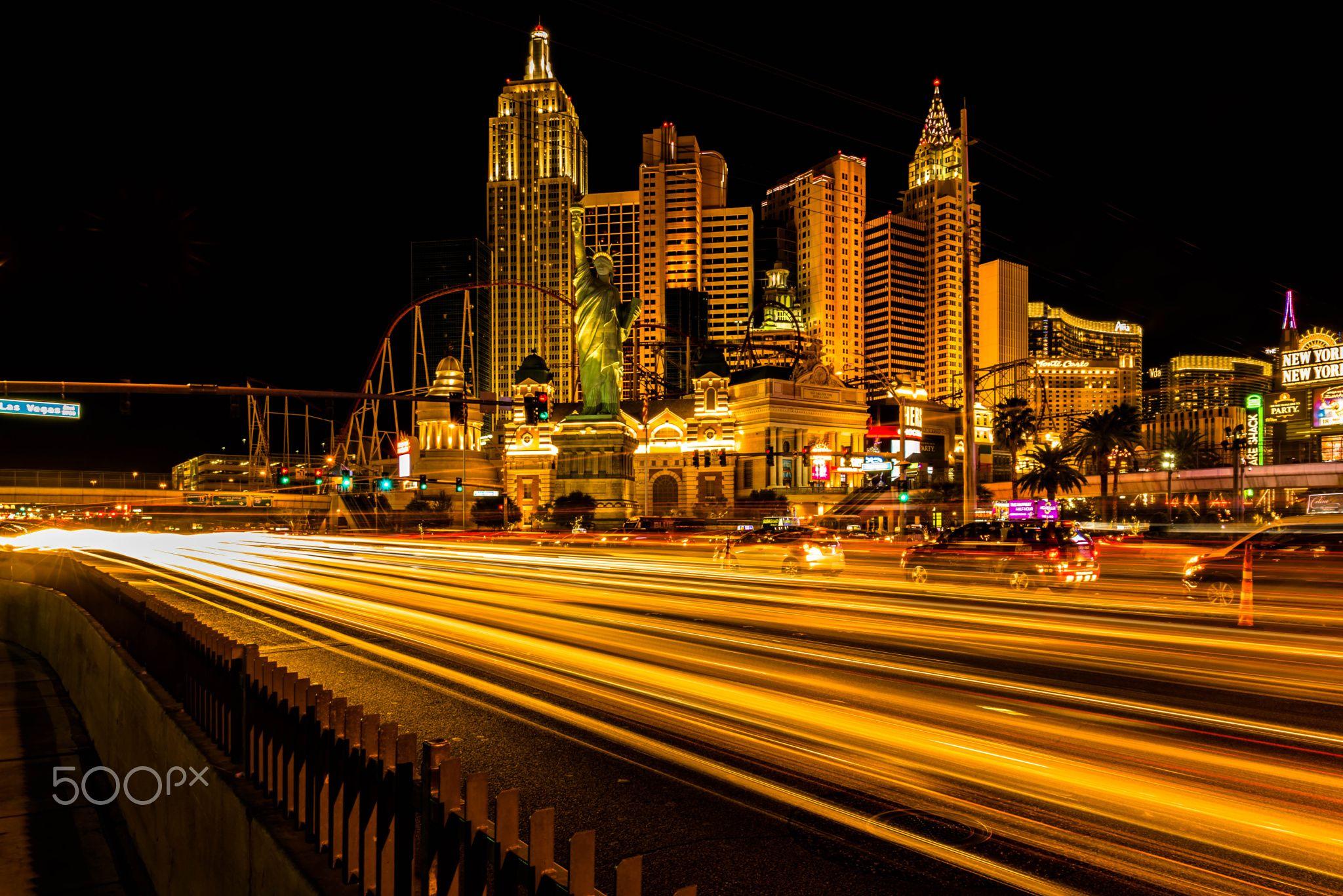 Long Exposure Shot in Vegas - A long exposure shot of New York New York,  Las Vegas NV. a 30 second exposure intensifies the light trails.