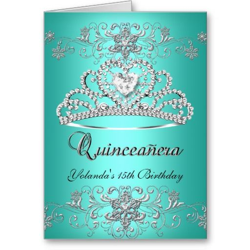 Folded Card Quinceanera Teal Glitter Tiara Photo