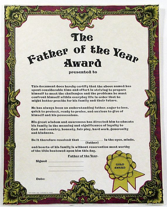 father of the year award certificate parchment paper original