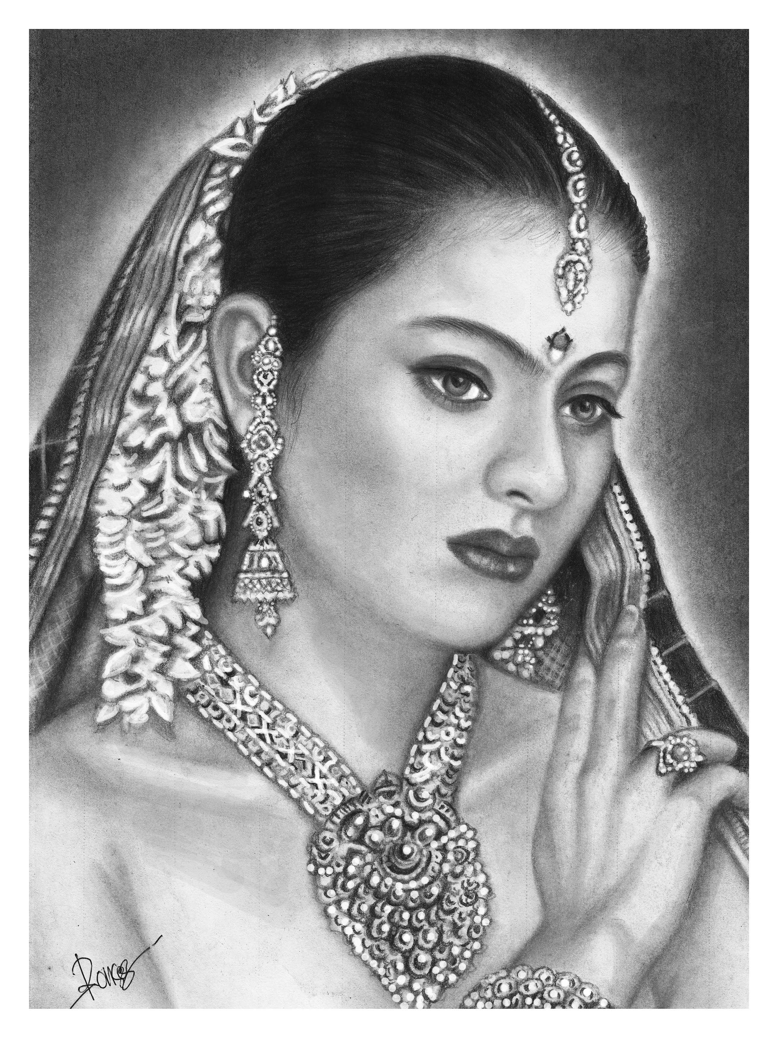 Kajol pencil art pencil drawings graphite drawings color pencil drawings crayon art
