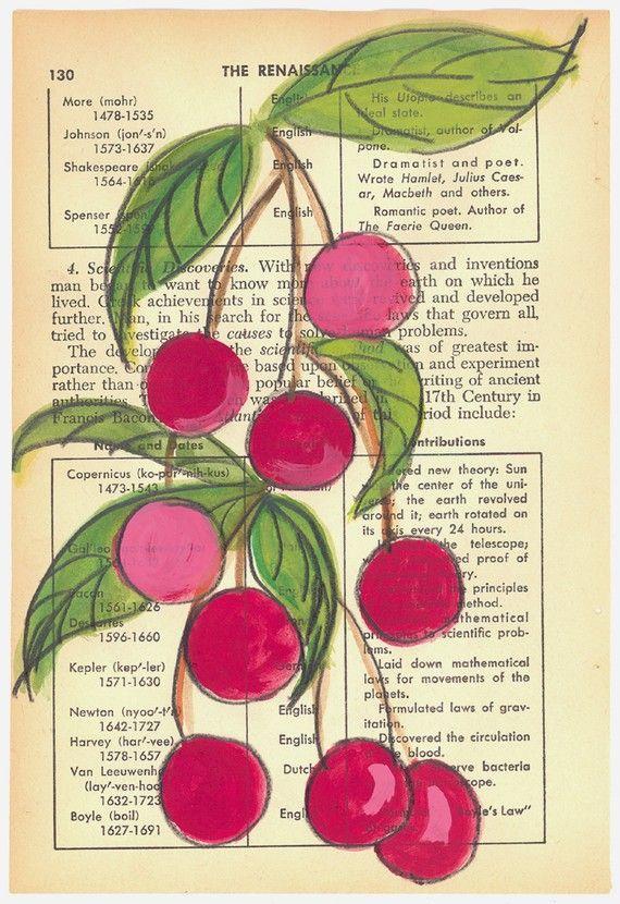 Summer Cherries - Original Painting on Antique Book Paper by Kim Piotrowski