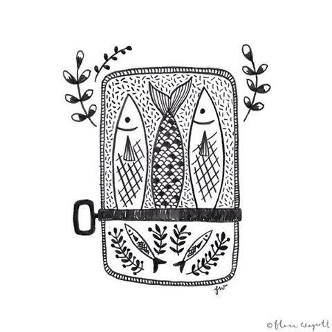 #inktober Day 24 - I love sardines!  #inktober2015 #ink #illustration #art #sardines #fish #florawaycott