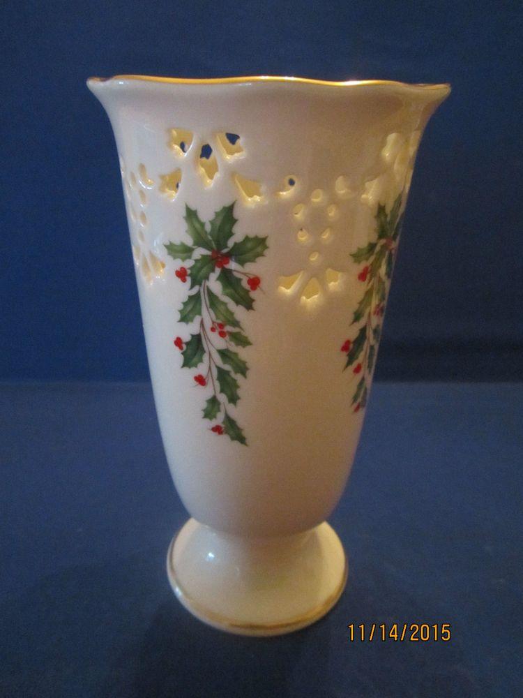 Lenox Fine China Holiday Dimension Pierced Vase 7 H X 4 D Holiday China Christmas China Lenox China