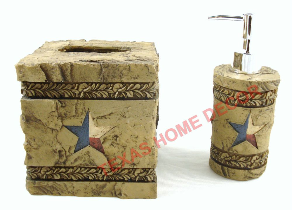 Marvelous Western Texas Star Bathroom Accessory Set 2 Piece Engraved Floral Stone Look