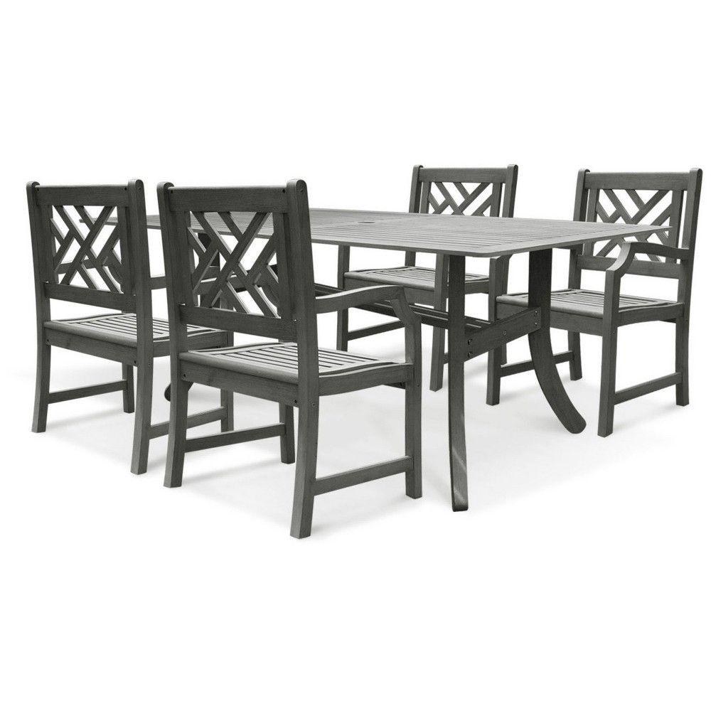 Vifah Patio Furniture.Renaissance 5pc Rectangle Wood Patio Dining Set Gray Vifah