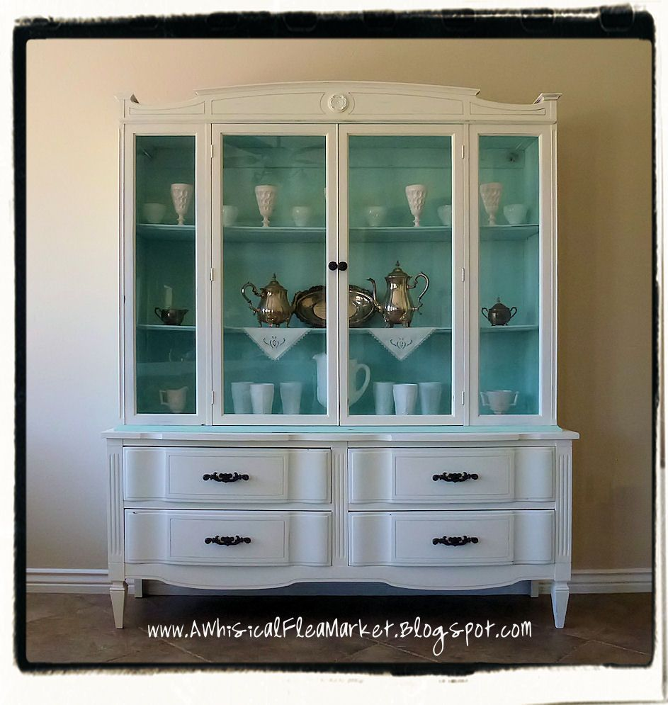 paint hutch and buffet, paint inside of hutch or use fabric on back ...