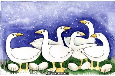 Christmas Cards Six Geese of Laying