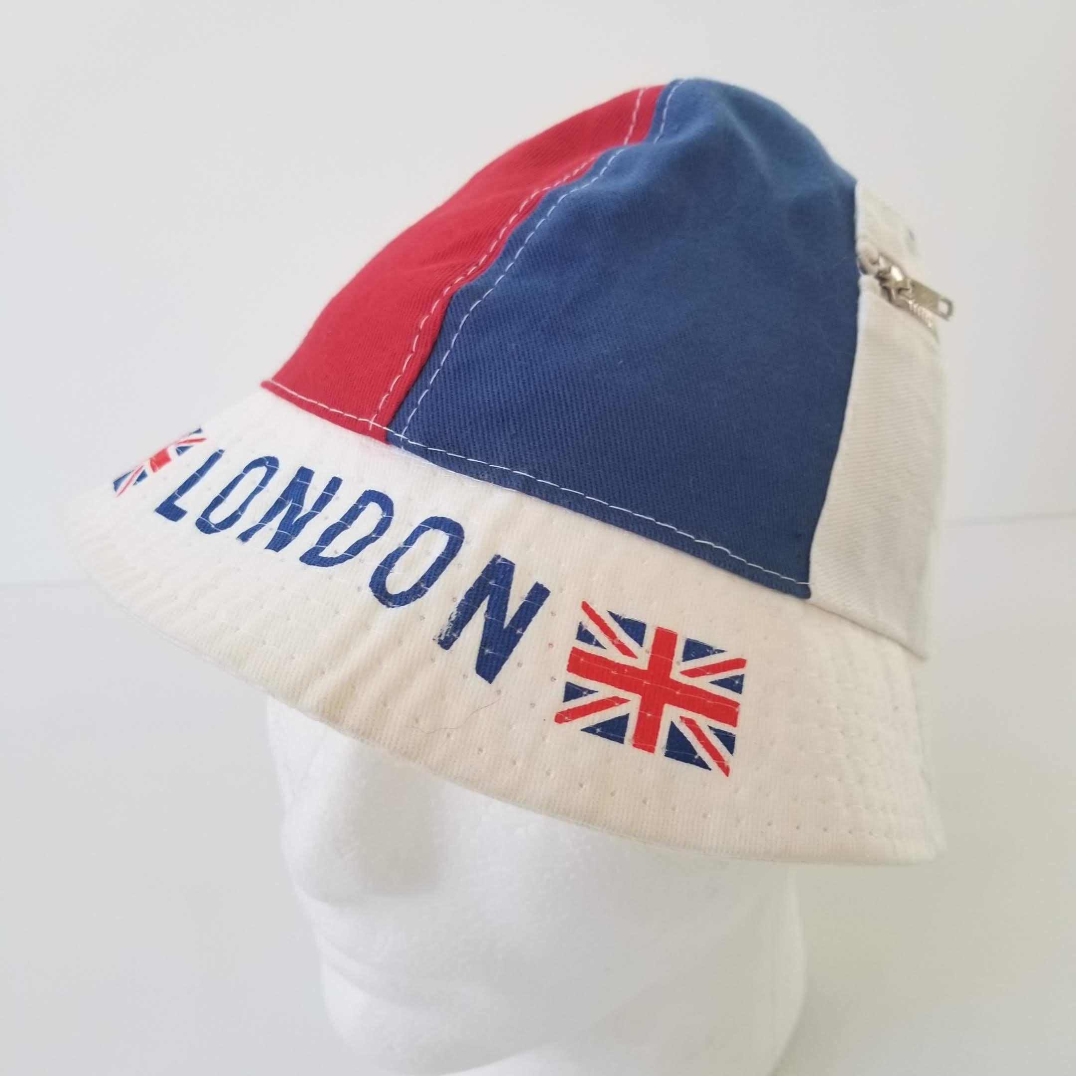 318363e22d0 Vintage London England Bucket Hat Adult M Child L Pockets Union Jack White  Blue Red Flag by TraSheeWomen on Etsy  london  england  britain  uk   vintage ...