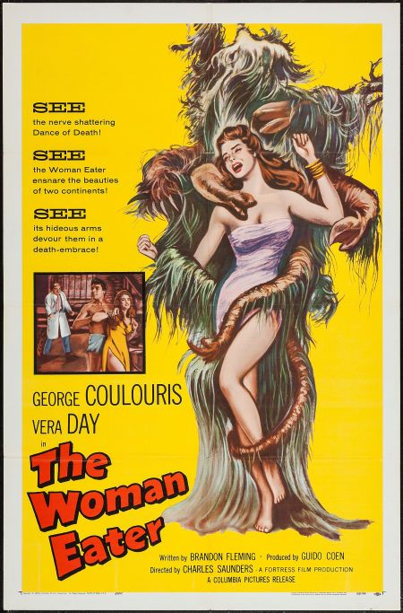 "The Woman Eater (Columbia, 1959). One Sheet (27"" X 41""). Horror. Starring George Coulouris, Vera Day, Robert MacKenzie, Norman Claridge, Marpessa Dawn, Jimmy Vaughn, Sara Leighton, Edward Higgins, Joyce Gregg, Harry Ross, and Peter Wayn. Directed by Charles Saunders."