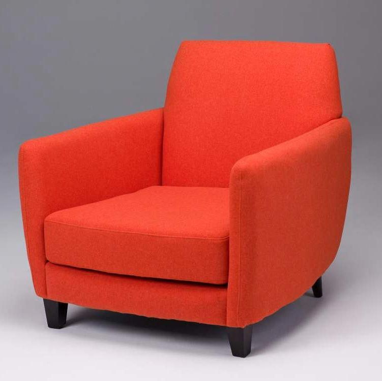 Orange Upholstered Chair Resin Folding Seriena Barcelona Sofa Accent In Red Purple Faux Wool Orangeaccentchair