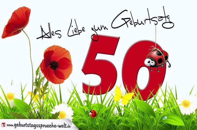 Geburtstagskarte Mit Blumenwiese Zum 50 Geburtstag