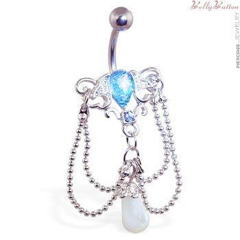 Chandelier navel ring with synthetic blue opal belly pinterest chandelier navel ring with synthetic blue opal mozeypictures Images