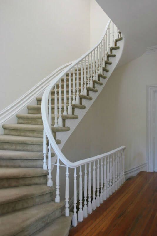 White Staircase Railing Wood Railings For Stairs Stairs | White Wood Stair Railing | Entryway Stair | Metal | Outdoor Stair | Baluster Curved Stylish Overview Stair | Glass