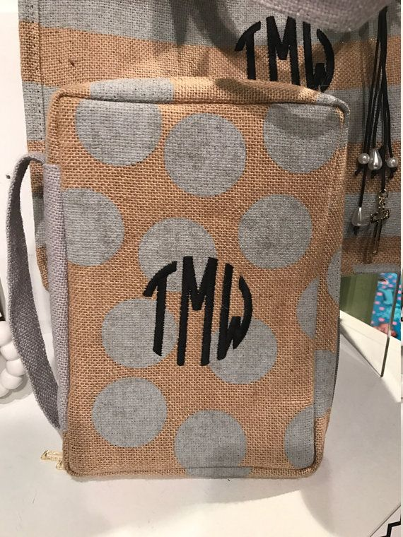 Monogrammed Personalized Stripe Bible Cover, Monogram Bible Case, Burlap Bible Cover, personalized bible carrier