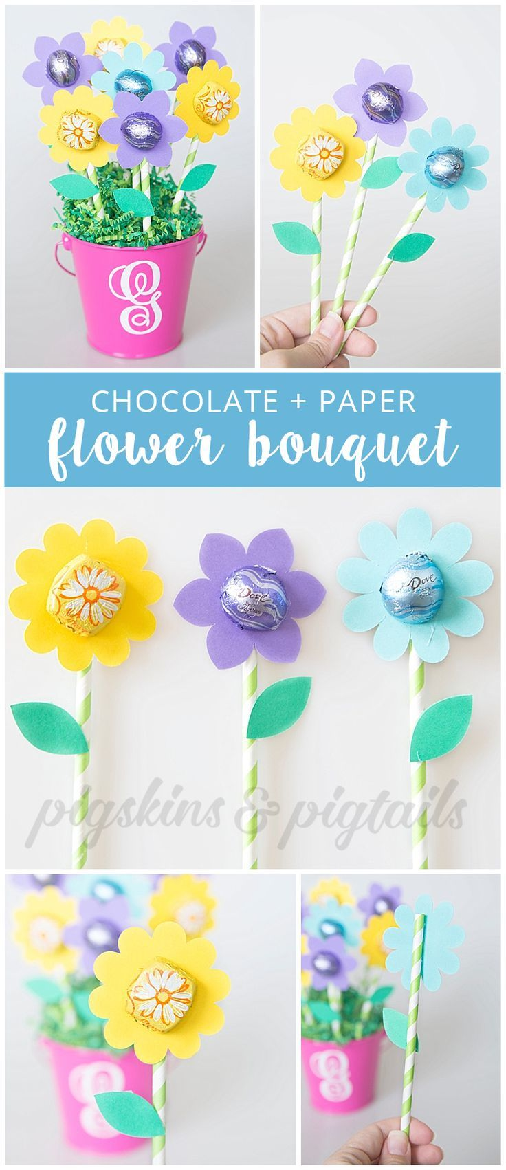 Dove chocolate paper flower gift diy holiday gifts