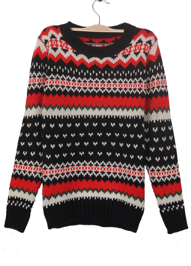 Black Zigzag Striped Geometric Pattern Jumper Sweater | Women's ...