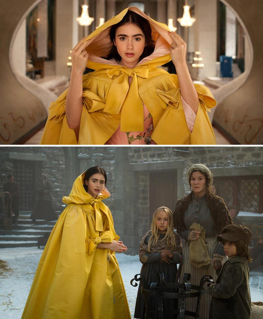 Mirror Mirror 2012 Starring Lily Collins As Snow White Melodie Simard And Dawn Ford As Towns People Click T Hollywood Costume Snow White Movie Fashion Tv