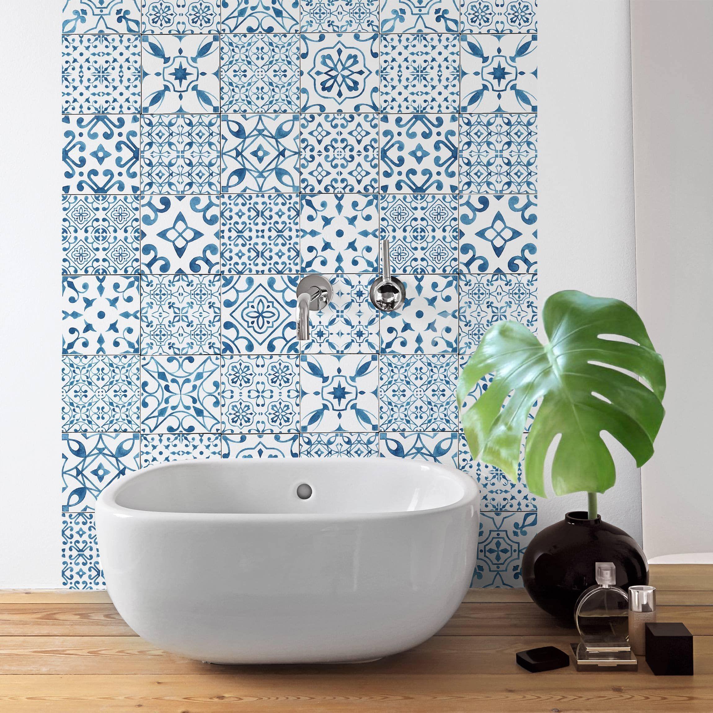 Carta Adesiva per Mobili Pattern Tiles Blue White nel