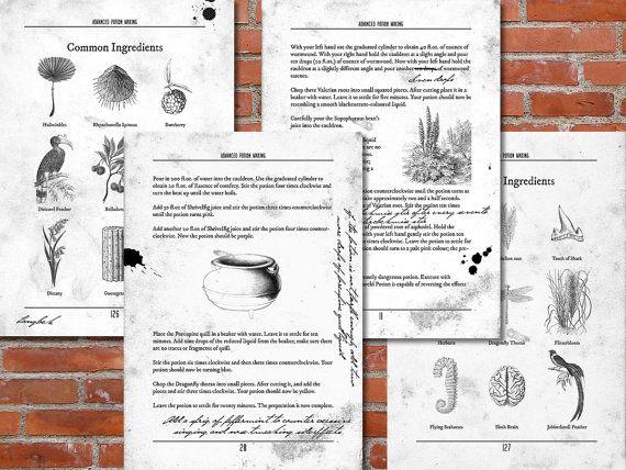 PRINTABLE Advanced Potion Making - Harry Potter Print, Potion Book - printable receipt book
