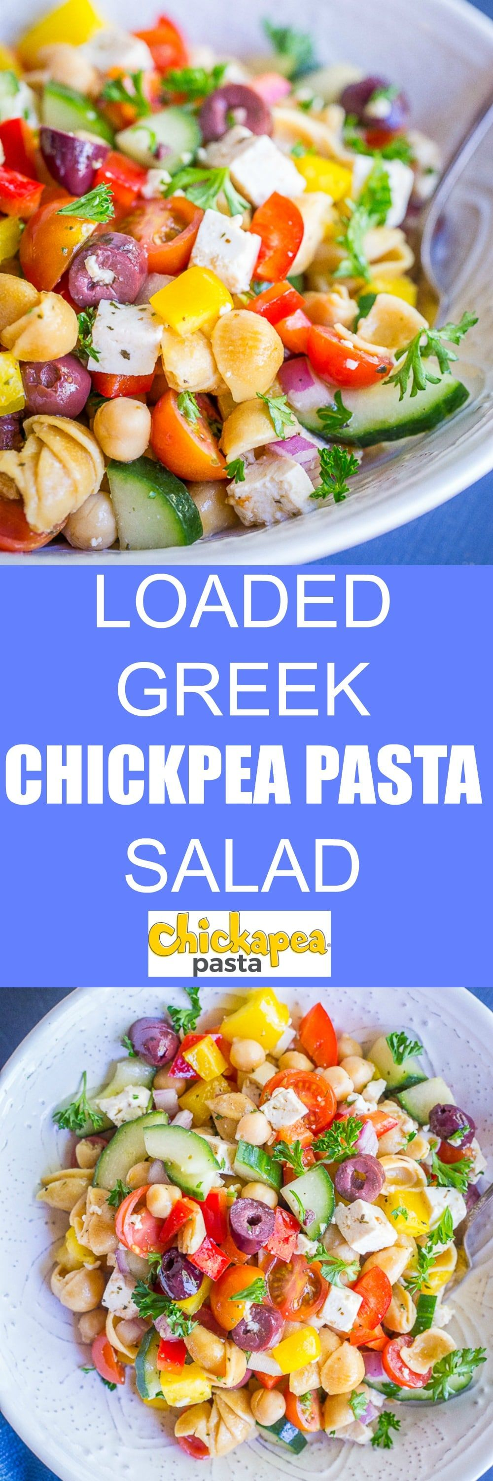 This Loaded Greek Chickpea Pasta Salad is packed with tons of protein and delicious veggies Its great for lunch or dinner If you love Greek flavors then you will really l...
