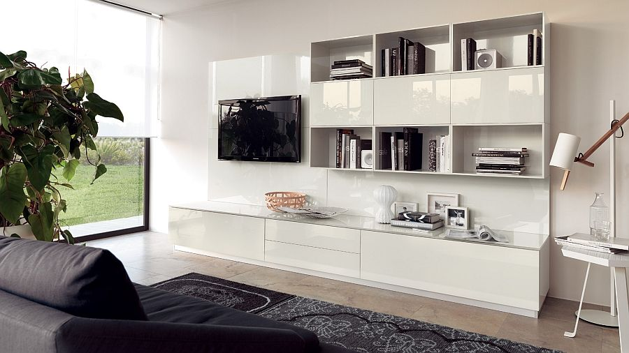white living room wall unit with glossy lacquer finish - decoist
