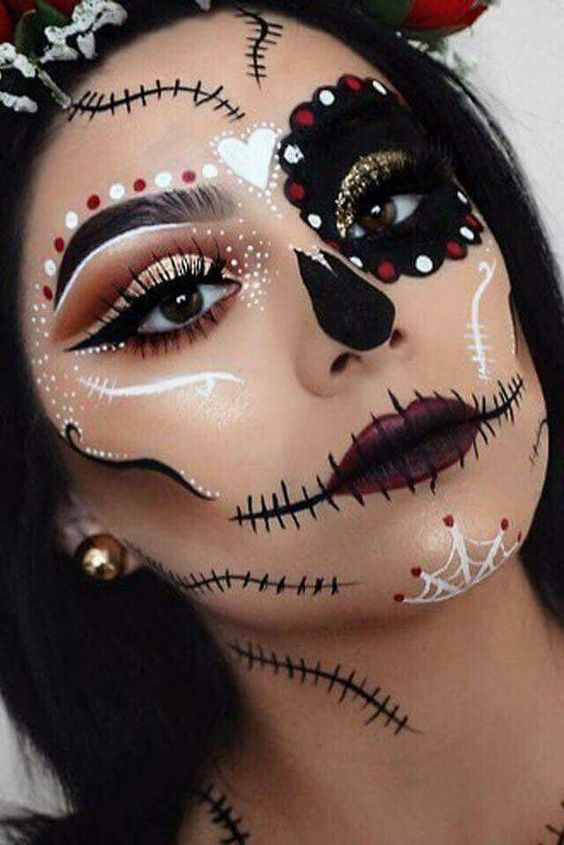 Skull With Jaw Dropped: 40+ Most Jaw-Dropping Pretty Halloween Makeup Ideas