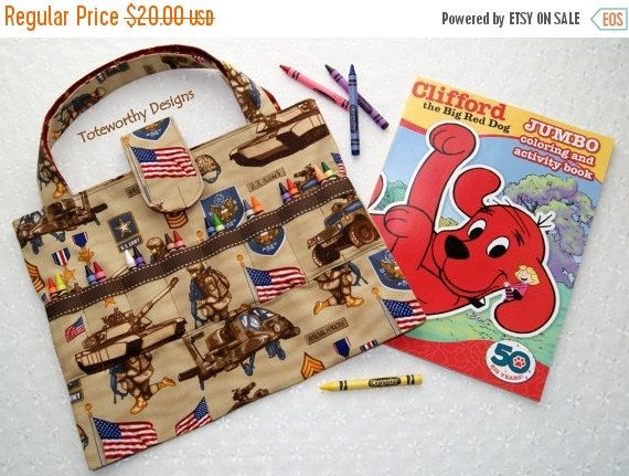 Crayon Holder Army Fabric, Coloring Book and Crayon Bag, Kids ...