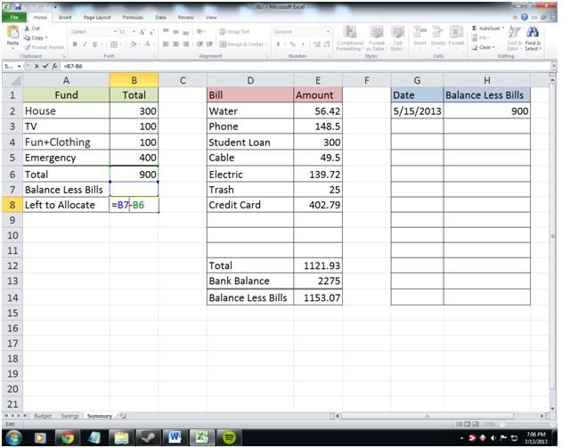 Attempts At Domestication - Bills10 computer stuff Pinterest - how to make a budget spreadsheet on excel