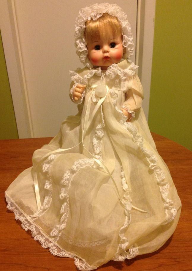 Vintage 1965 Madame Alexander Sweet Tears Baby Doll in Christening Dress