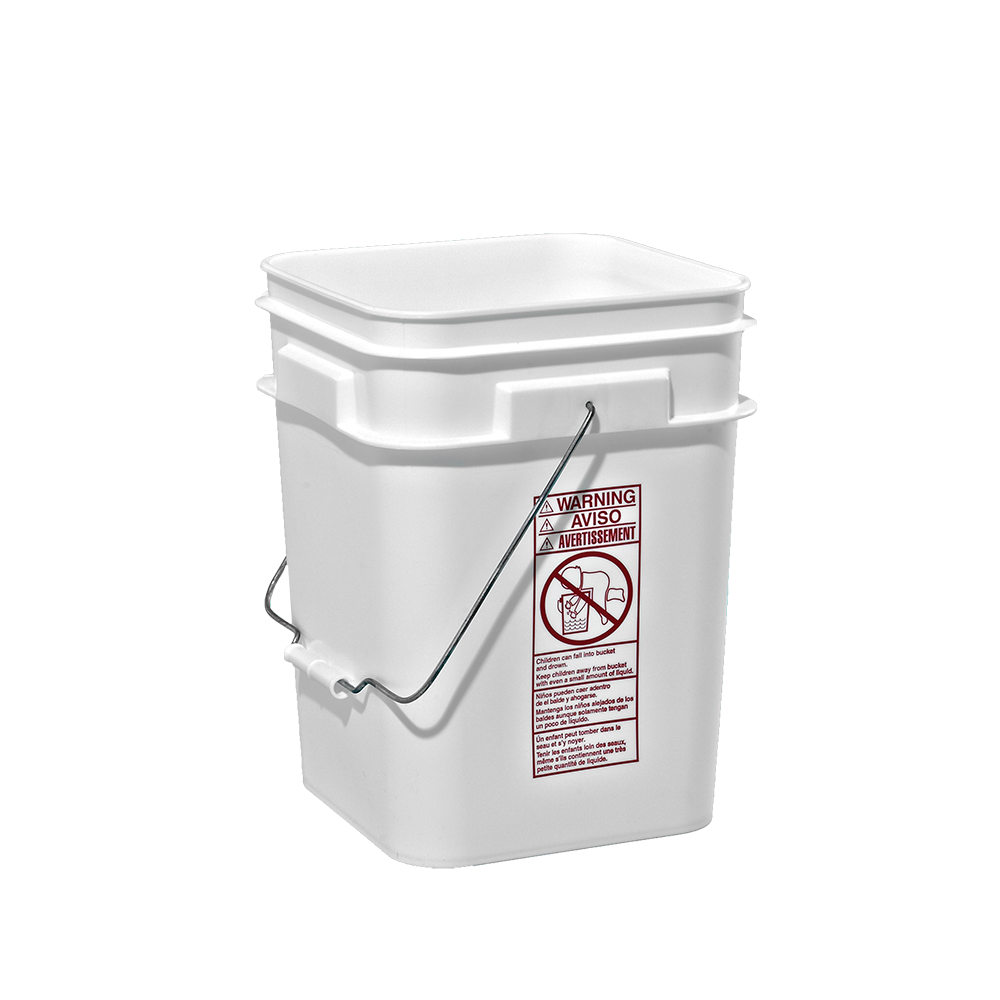 Illing Part 83085gw 5 Gallon White Plastic Square Open Head Pail W Metal Bail Plastic Square Open Head Pails Are Availa Plastic Pail Pail Metal Containers